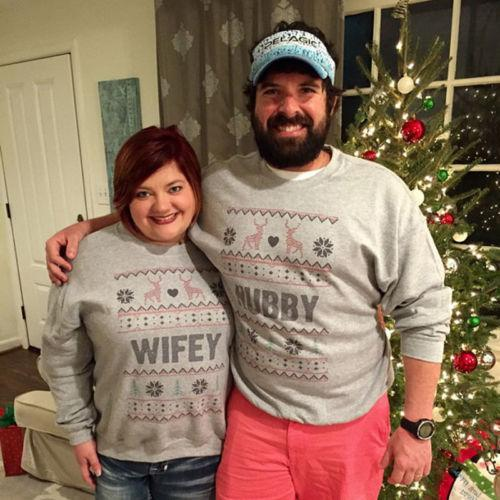 Hubby & Wifey Matching Ugly Christmas Couples Sweaters - LoveLuve