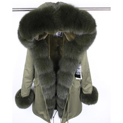 MaoMaoKong natural real fox fur Jacke coat Real Fox Fur Collar Cuff Hooded Coat Short Parka Long Camouflage winter jacket - LoveLuve