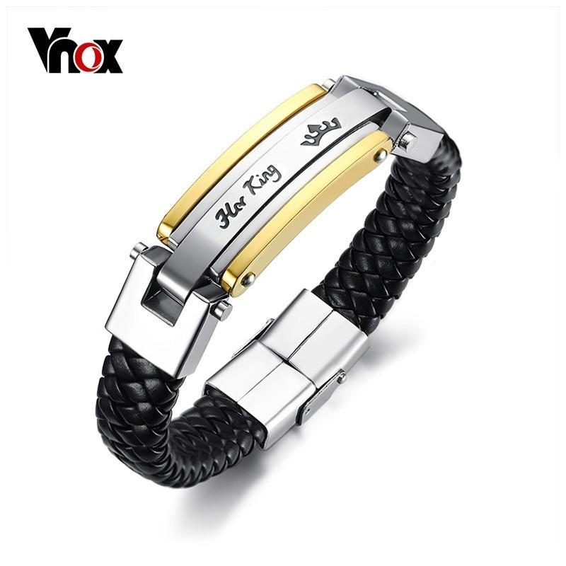 Vnox Her King His Queen Couple Bracelets Lover Crown Charm Leather Bracelet for Women Men Promise Gift Jewelry 8.66""