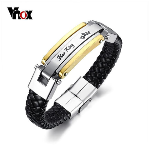 Image of Vnox Her King His Queen Couple Bracelets Lover Crown Charm Leather Bracelet for Women Men Promise Gift Jewelry 8.66""