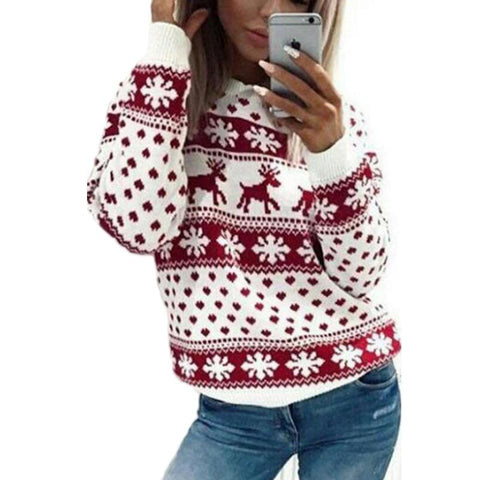 Image of Christmas sweater for women 2018 autumn winter Deer Snow Pattern patchwork ugly sweater knitted jumpers pullovers knitwear red - LoveLuve