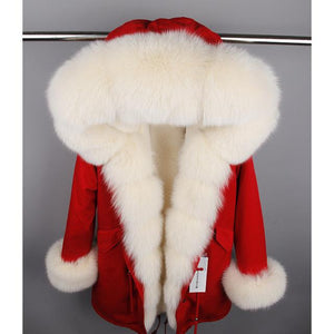 Natural Real Fox Fur Collar Cuff Hooded Coat