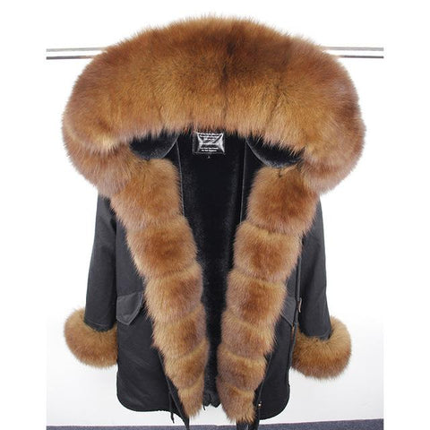 Image of MaoMaoKong natural real fox fur Jacke coat Real Fox Fur Collar Cuff Hooded Coat Short Parka Long Camouflage winter jacket - LoveLuve