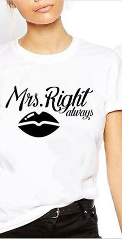 Image of Mr Right Mrs Always Right Funny Couple Tshirts - LoveLuve