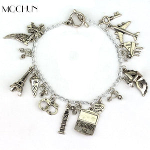 MQCHUN Fashion FSOG Charm Bracelet Fifty Shades of Grey Inspired 50 Shades charms Tie Handcuffs Gray Bracelets Women Men Gift - LoveLuve