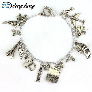 MQCHUN Fashion FSOG Charm Bracelet Fifty Shades of Grey Inspired 50 Shades charms Tie Handcuffs Gray Bracelets Women Men Gift