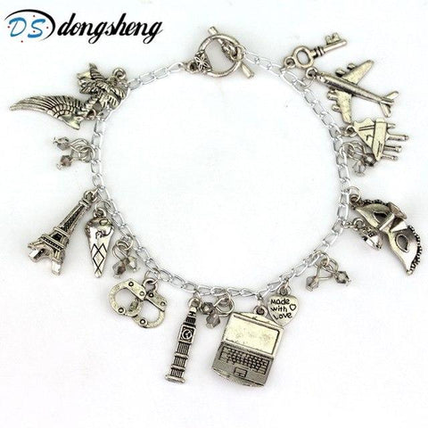 Image of MQCHUN Fashion FSOG Charm Bracelet Fifty Shades of Grey Inspired 50 Shades charms Tie Handcuffs Gray Bracelets Women Men Gift - LoveLuve