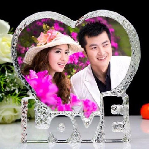 Image of Customized Love Heart Shaped Crystal Photo Frame