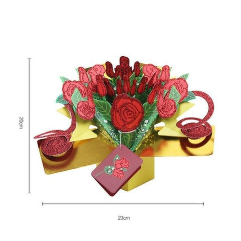 Image of Valentine's Day Cards Postcard with Envelopes 3D pop up Paper Laser Cut Birthday greeting card Valentines Day gift for lover Flo