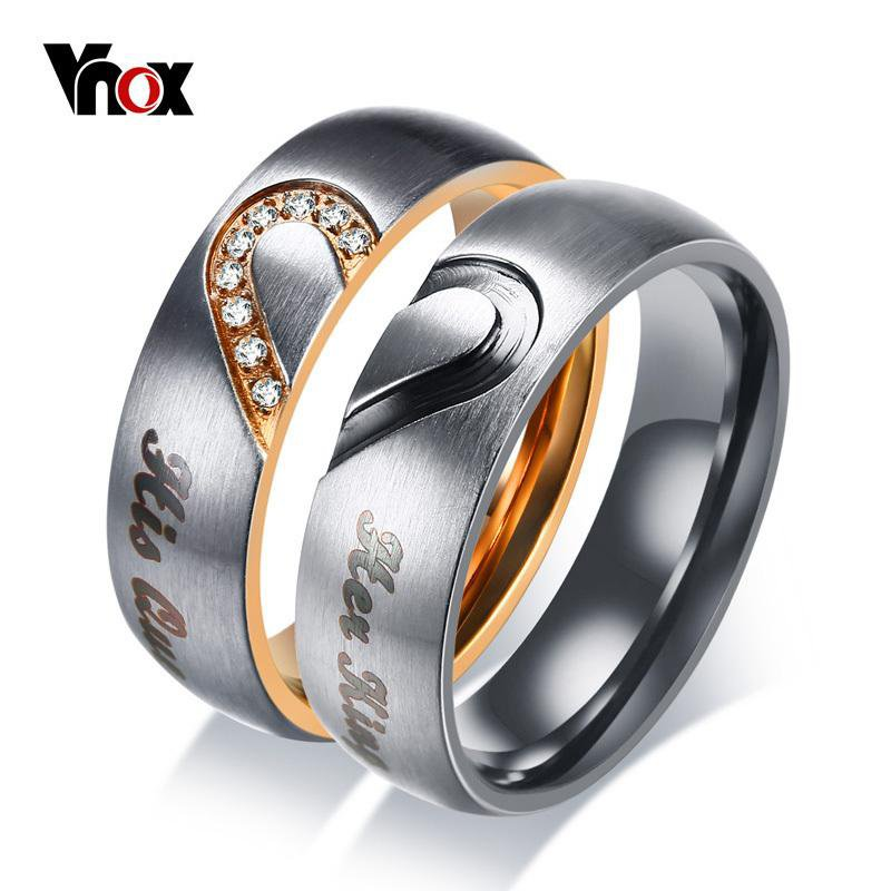 Vnox Her King His Queen Couple Wedding Band Ring Stainless Steel CZ Stone Anniversary Engagement Promise Ring for Women Men