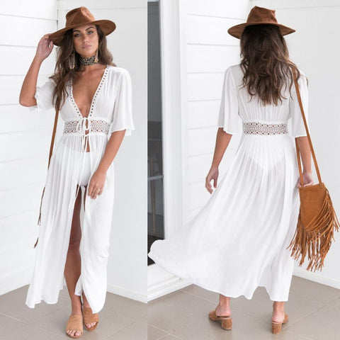 Image of White Long Bikini Swimwear Summer Beach Dress - LoveLuve