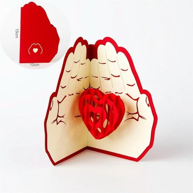 Promotion Romantic Heart 3D Valentines day pop up greeting card laser cut with envelope postcard hollow carved handmade gift