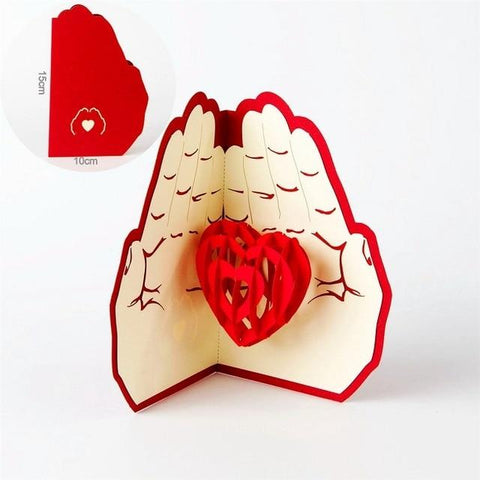 Image of Promotion Romantic Heart 3D Valentines day pop up greeting card laser cut with envelope postcard hollow carved handmade gift