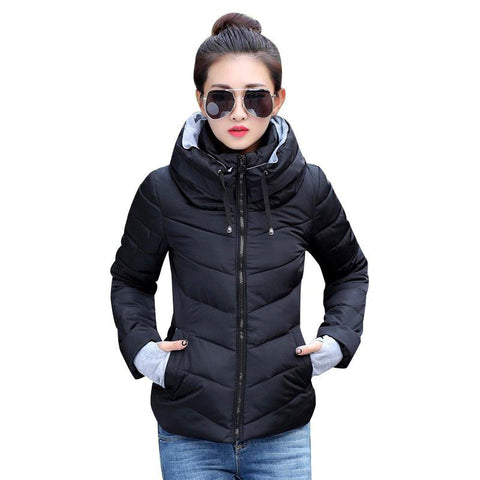 Women's Parkas Thicken Solid Hooded Coats - LoveLuve