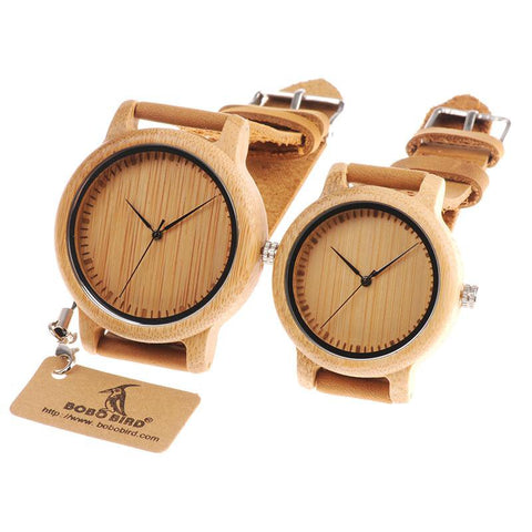 Image of Leather Band Bamboo Couple Casual Wood Watches
