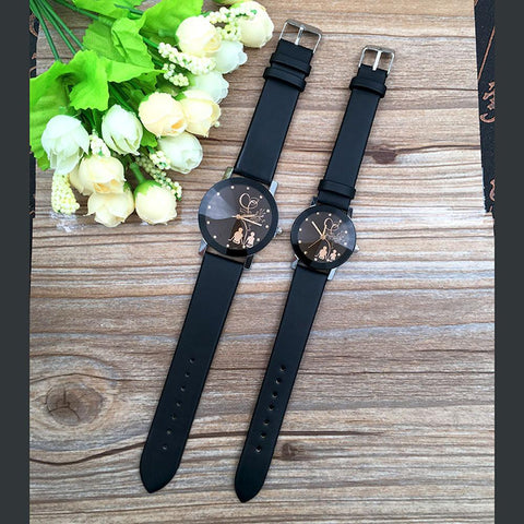 Image of New Relogio Couple Stylish Spire Glass Watches