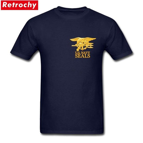 Image of USA Army Navy SEALS T Shirts Men's 100% Cotton Plus Size T-Shirts Men Proud Veteran Tee Shirt Short Sleeve XS-3XL