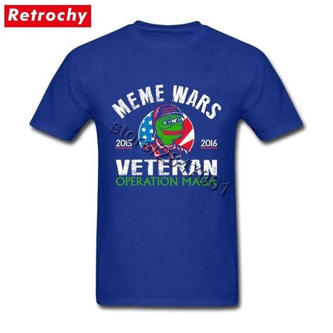 Image of Bulk Wholesale Men's Trendy Meme Wars Veteran Pepe Frog Tee Short Sleeve Custom Print Tee Shirt Young Guy Tall Size Tshirt - LoveLuve