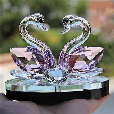 Image of Crystal Swan Crafts Glass Paperweight Figurine Gift Crafts Ornaments Figurines Home Wedding Party Decor Gifts Souvenir