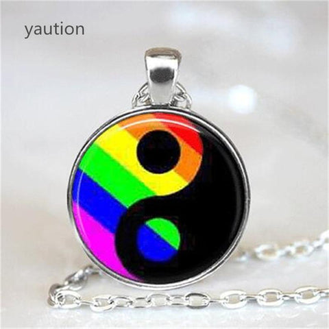 Gay Pride Necklace Gay Pride Jewelry Ying Yang Pendant Necklace Ying Yang Jewelry LGBT Jewelry