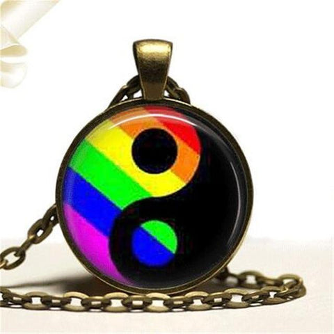 Image of Gay Pride Necklace Gay Pride Jewelry Ying Yang Pendant Necklace Ying Yang Jewelry LGBT Jewelry
