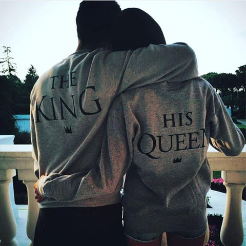 Image of King & Queen Letter Printed Long Sleeve Couple Matching T-Shirt - LoveLuve