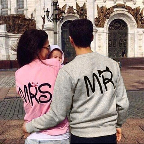 King & Queen Letter Printed Long Sleeve Couple Matching T-Shirt - LoveLuve