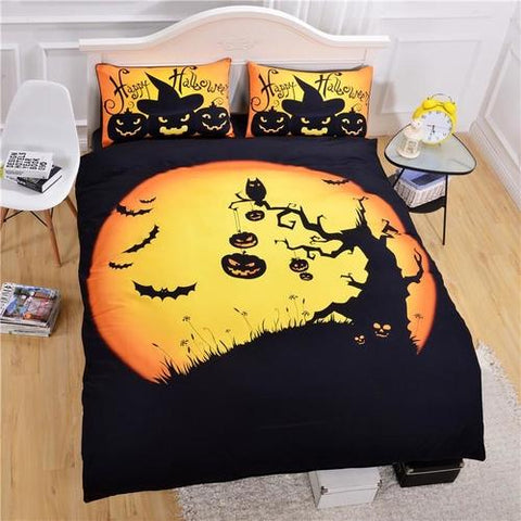 Image of Happy Halloween Tree Kids Bedding Set Bat Pumpkin - LoveLuve