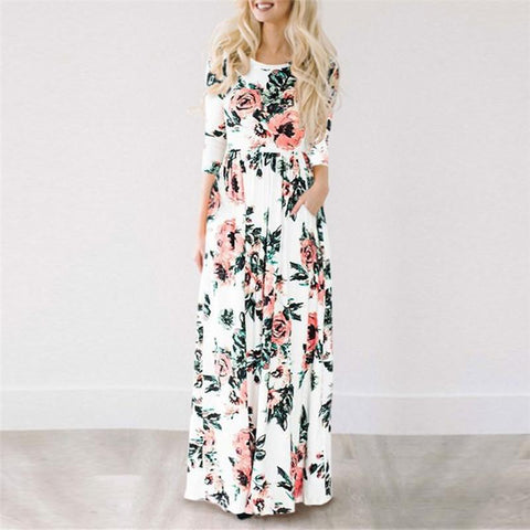 Floral Print Summer Beach Long Dress - LoveLuve