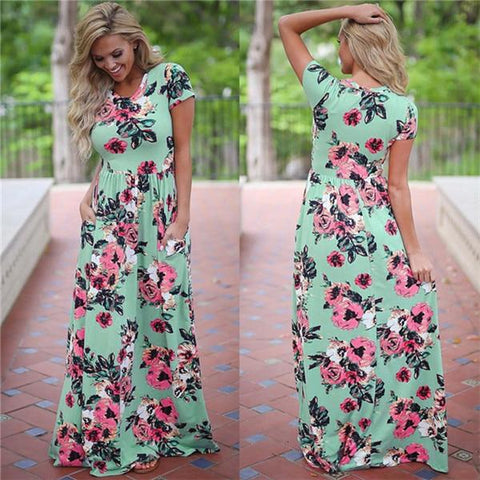Image of Floral Print Summer Beach Long Dress - LoveLuve