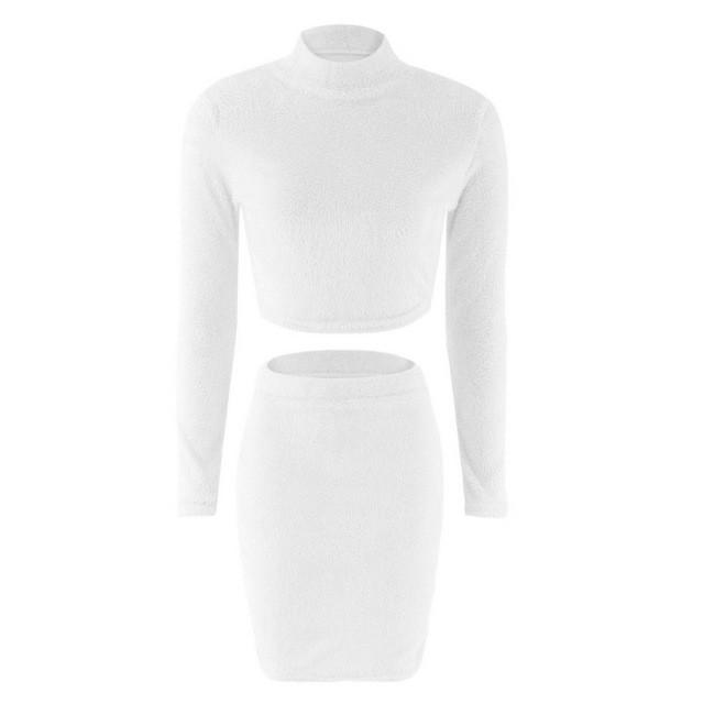 2018 Autumn Winter Women Long Sleeve Imitation Mink Fleece Crop Top Pencil midi solid Bodycon 2pcs Set Sweater Dress - LoveLuve