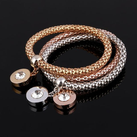 Image of 3 Pcs/Set Crystal Owl Heart Women Charm Bracelet - LoveLuve