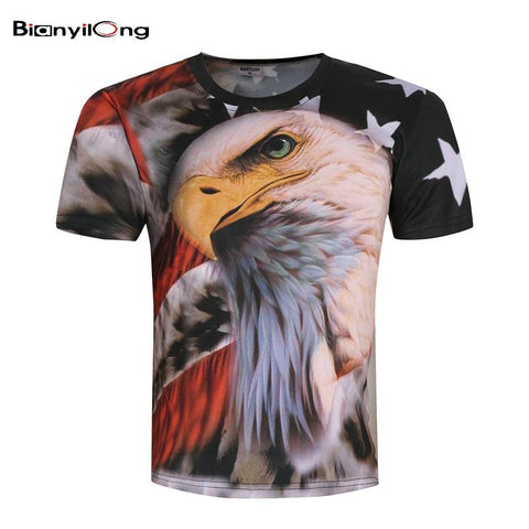 Image of USA Hip-Hop 3D American Flag Eagle Prints Summer Shirt for Men - LoveLuve