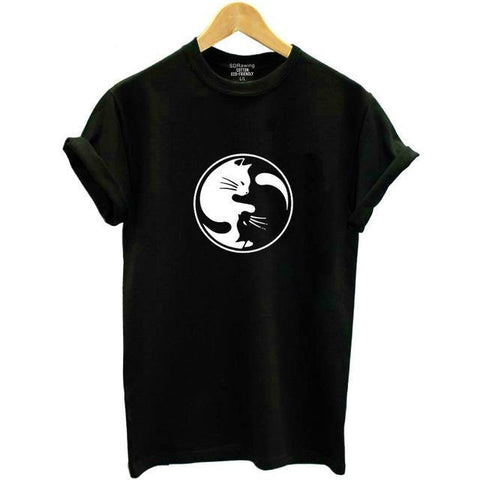 Image of Yin Yang Cat Shirt For Women - LoveLuve