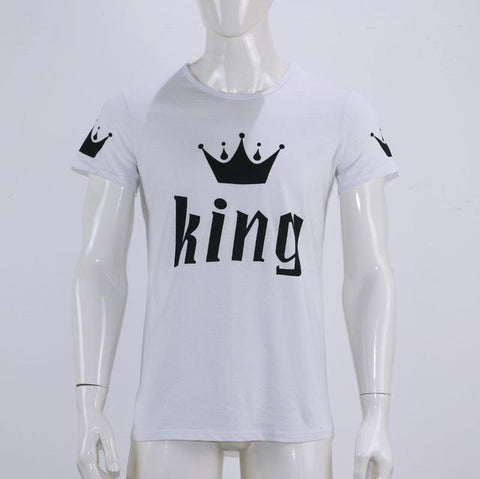 Valentine Shirts Woman Cotton King Queen Funny Letter Print Couples Leisure T-shirt Man Tshirts Short Sleeve O neck T-shirt