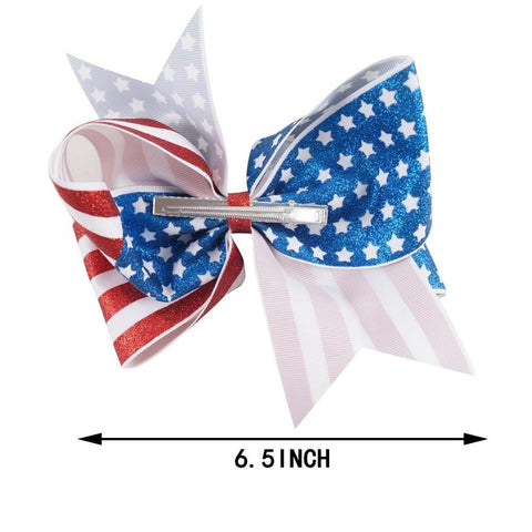 "6.5"" Girls 4th of July Glitter Hair Clips - LoveLuve"