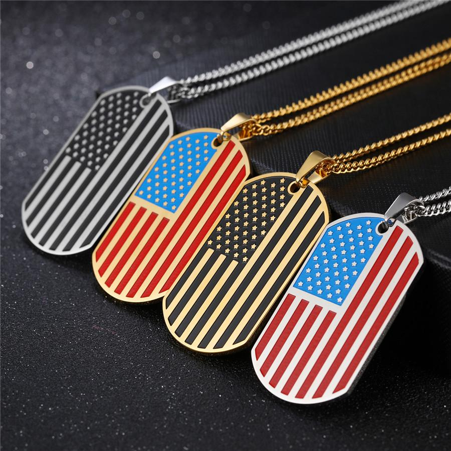 American Independence Day Gold Color Stainless Steel Flag Pendant Necklace - LoveLuve