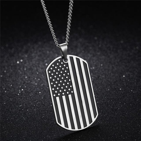 Image of American Independence Day Gold Color Stainless Steel Flag Pendant Necklace - LoveLuve