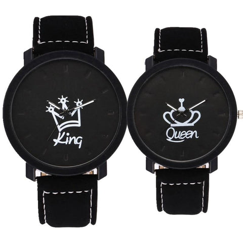 King & Queen Crown Leather Couple Watch