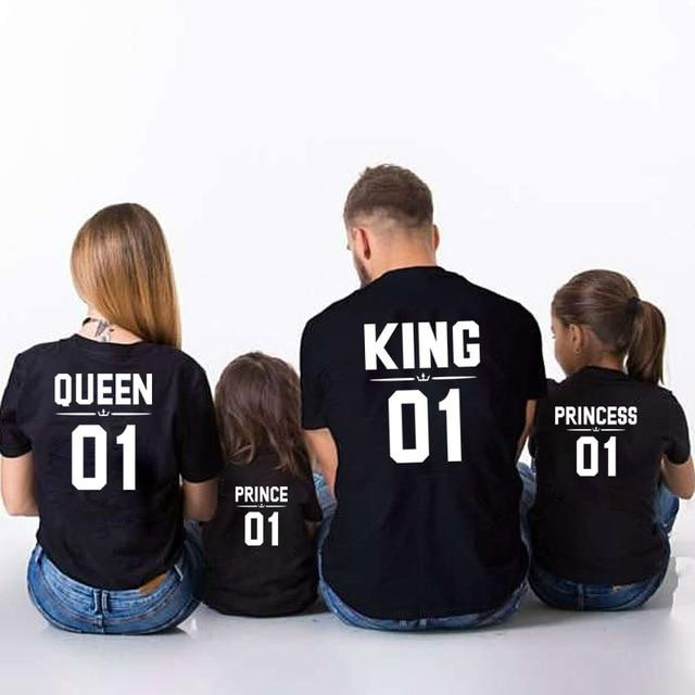 Family Look Dad Mom Kid matching outfits mommy and me clothes mother daughter dresses Fashion T-Shits King Queen prince princess
