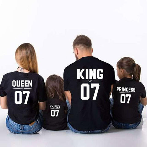 Image of Family Look Dad Mom Kid matching outfits mommy and me clothes mother daughter dresses Fashion T-Shits King Queen prince princess