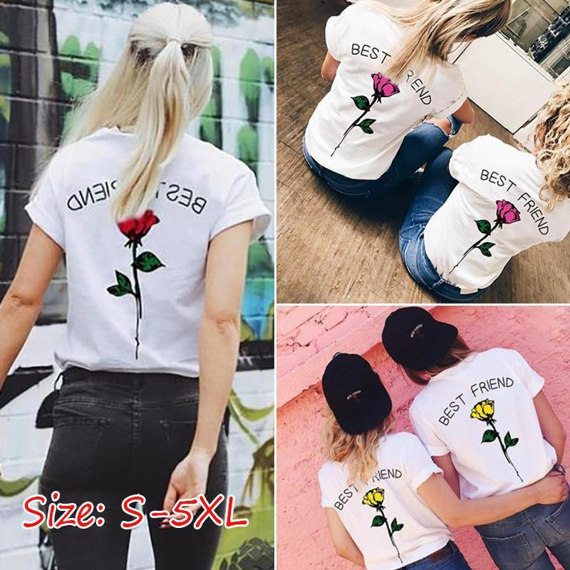 2018 New UNISEX BEST FRIEND Letters Rose Flower Printed Funny T Shirt - LoveLuve