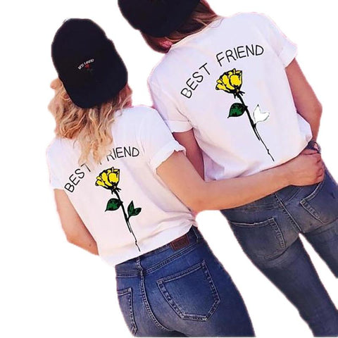 Image of 2018 New UNISEX BEST FRIEND Letters Rose Flower Printed Funny T Shirt - LoveLuve