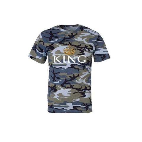 Image of KING QUEEN Printed Camouflage Female T Shirt Couple T Shirt for Lovers Men T Shirt Women Tops Couple Clothes 2018 Summer Tops