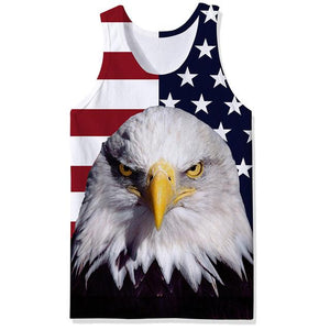 3D Print Eagle Vest American Flag Sleeveless Tank Top for Fitness Bodybuilder