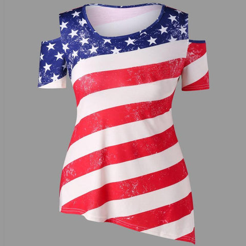 Fourth of July 2018 Women's  American Flag Printed Off Shoulder Tops - LoveLuve