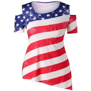 Fourth of July 2018 Women's  American Flag Printed Off Shoulder Tops