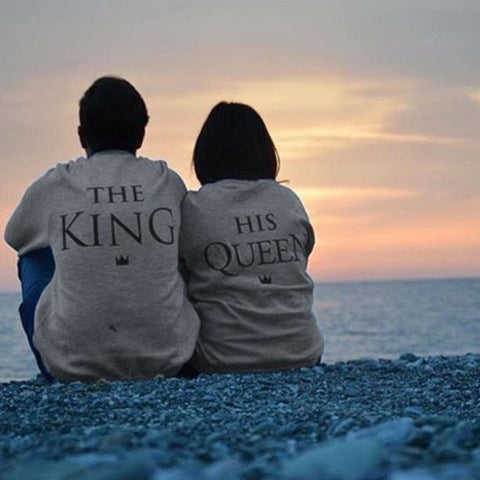 Queen King Letter Print Long Sleeve Couple Shirt