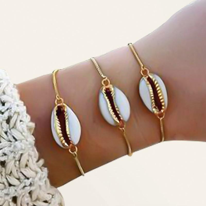 Gold Color Genuine Cowrie Shell Women Bracelet - LoveLuve