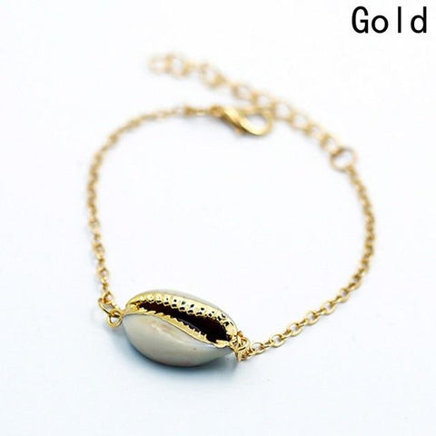 Image of Gold Color Genuine Cowrie Shell Women Bracelet - LoveLuve